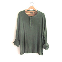 vintage green long sleeve top. button front henley. minimalist shirt. oversized long underwear shirt