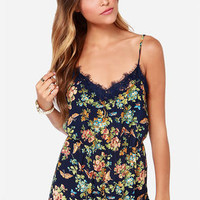 Smooth as Butterflies Navy Blue Print Romper