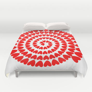 Patt2 RED HEARTS Duvet Cover by Heaven7
