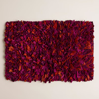 Plum Multi Jersey Shag Bath Mat - World Market