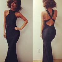 Sexy Women Clubwear Cocktail Party Backless Black Bandage Bodycon Long Dress