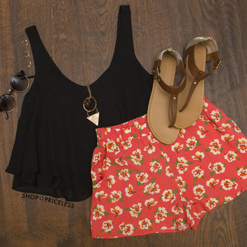 Way Way Back Floral Shorts  Coral