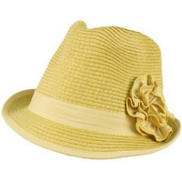 Ladies Ruffle Flower Beach Summer Fedora Trilby Crusher Packable Hat Natural
