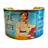 "Jane Austen Emma Quote Vintage Style Brass Cuff Bracelet: ""There is no Charm..."""