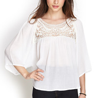 Crocheted Gauze Peasant Top