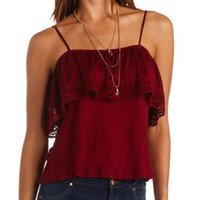 Off-the-Shoulder Crocheted Flounce Swing Top