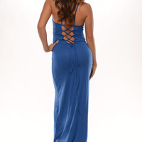 Laced Up Back Spaghetti Strap Maxi Dress - Royal | Fashion Nova