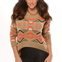 Brown & Orange Aztec Print Sweater | Fashion Nova