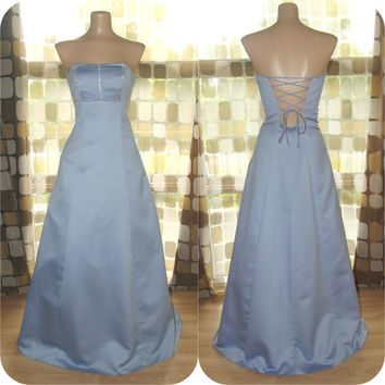 Vintage 90s Corset Back Periwinkle Satin Strapless Formal Dress Ball Gown 7/8 S/M