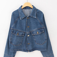 Vintage pockets loose denim jacket demin coat from Sweetbox Store