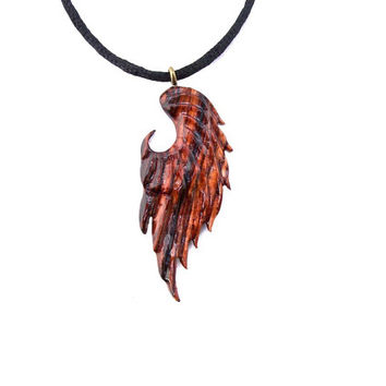 Unisex Angel Wing Necklace, Angel Wing Pendant, Wing Pendant, Wood Wing Pendant, Mens Wing Necklace,…