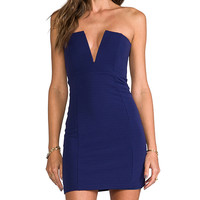 Nookie Rubix V-Front Bustier Dress in Navy