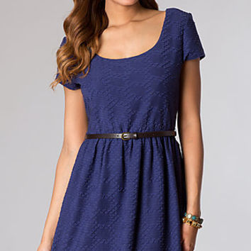 Short Lace Scoop Neck Short Sleeve Dress