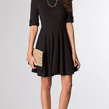 Short Black Dress with Half Sleeves