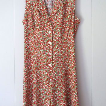 Vintage 90's Express Strawberry Rayon Romper Mini Dress Boho Festival M