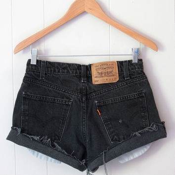 Vintage 90s Levi's Black High Waisted Cut Off Denim Shorts Jean Cuffed 28""