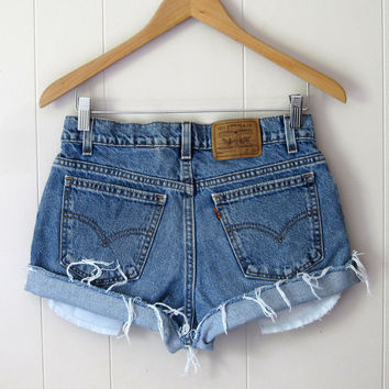 Vintage 90s Levi's Medium Wash Mid High Waisted Cut Off  Denim Shorts Jean 29""