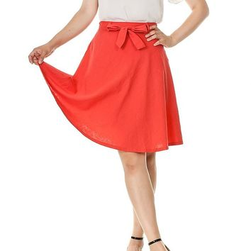 Ribbon Tie High Waist A-Line Flared Midi Skirt