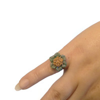 Holiday Cocktail Ring, Flower Adjustable Ring, Polymer Clay Jewelry, Christmas Gift, Green and Gold on Bronze Band, Proceeds to Charity