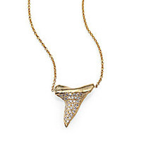 Zoe Chicco - Diamond & 14K Yellow Gold Shark Tooth Pendant Necklace - Saks Fifth Avenue Mobile