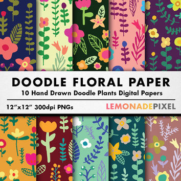 Floral Doodle Digital Paper - Hand drawn paper, floral scrapbooking paper, bright colorful paper, flower doodles, repeating patterns