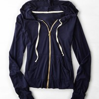 Don't Ask Why Full Zip Hoodie , Navy | American Eagle Outfitters