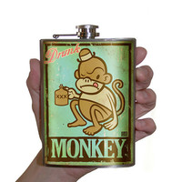 Flask 8oz Drunk Monkey Stainless Steel by trixieandmilo on Etsy