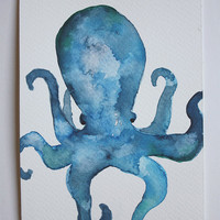 Original octopus watercolour painting postcard size by aakti