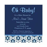 Navy Blue and White Fun Stars Baby Boy Shower Invitations from Zazzle.com