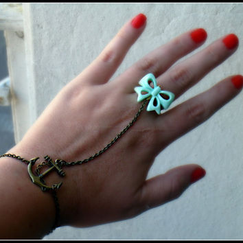 anchor slave bracelet with bow by alapopjewelry
