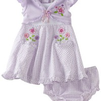 Youngland Baby-Girls Infant Mock Floral Applique Seersucker Sundress