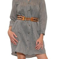 Women&#x27;s 12th Street by Cynthia Vincent Belted Shirt Dress in Pinstripe