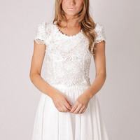 Esther Boutique - ukon lace bodice cap sleeve tunic- white