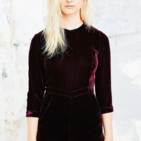 Little White Lies Candice Velvet Playsuit in Burgundy - Urban Outfitters