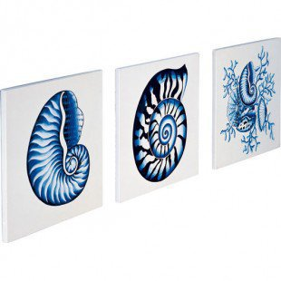 "CNI Designs Blue Villa Wall Art Tiles - 10"" x 10"" - GY3612-3 - All Wall Art - Wall Art & Coverings - Decor"