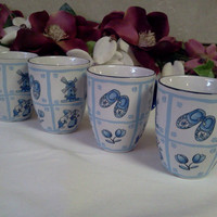 Vintage Coffee Cups French Country Blue by KeepsakeVintage on Etsy