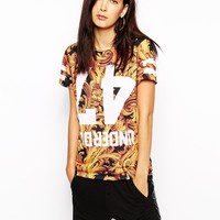 Criminal Damage T-Shirt With Regal Baroque Print Co-Ord