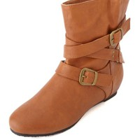 BELT-WRAPPED SLOUCHY HIDDEN WEDGE ANKLE BOOTS