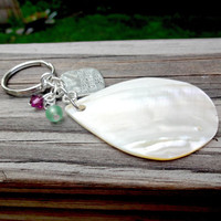 Natural Mother of Pearl Shell Keychain Made With Swarovski Elements, Dreaming of the Sea KeyRing