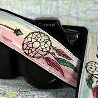 Dream Catcher Camera Strap, Hand Painted 14-2w, Pink, Green, Dreamcatcher, Arrow, Feathers, One of a Kind, dSLR or SLR