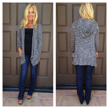 Drop Me A Line Knit Hooded Cardigan - CHARCOAL GREY