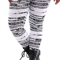 Plus Size Tribal Mini Stripes Leggings