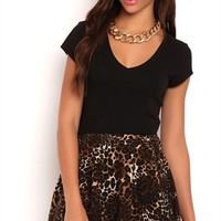 Knit Skater Skirt with Cheetah Print