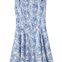ROMWE Blue and White Porcelain Print Cut-out Blue Dress