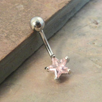 Light Pink Star Belly Button Jewelry Ring