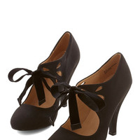 ModCloth Vintage Inspired Tea on the Train Heel in Black