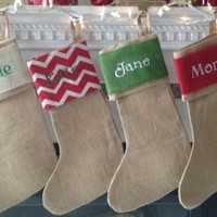 Christmas in July! LOWEST Price ever!!! Personalized Burlap Stockings!!!!