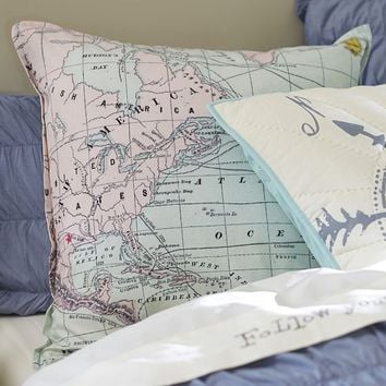 Junk Gypsy Adventure Map Euro Pillow Cover