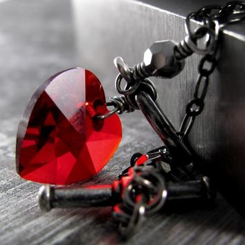 Tough Love - Red Heart Necklace, Swarovski Crystal Heart Pendant, Black Chain, Valentine's Gift for Girlfriend, Rocker Girl, Gothic Love