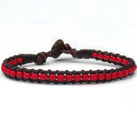 Dark Red Leather Bracelet Boho, Mens, Womens, Hipster, Wrap Bracelet, Southwest Style, Western,